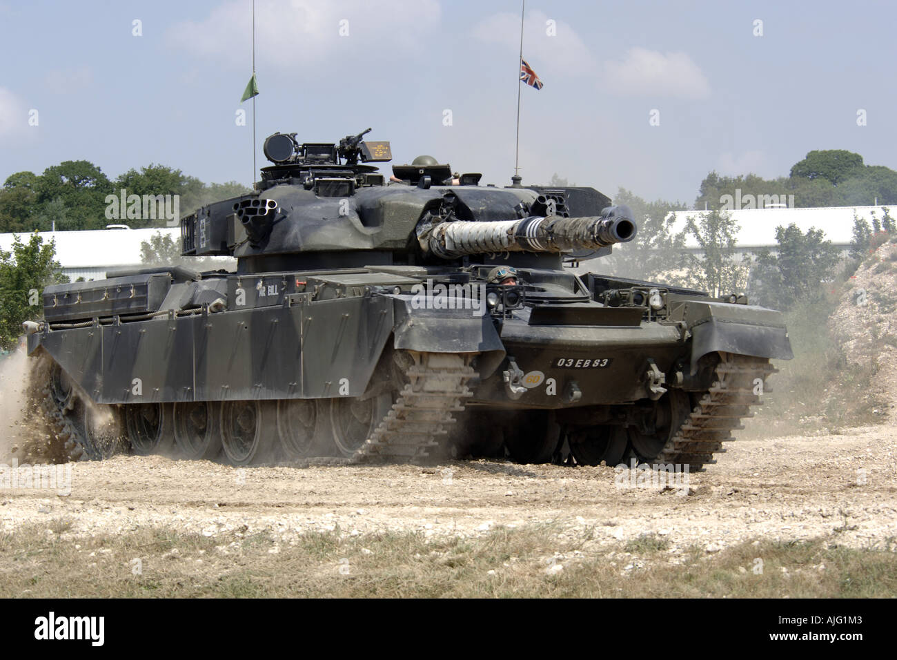 Modern day British Army Chieftain tank on manouvers in Europe - Stock Image