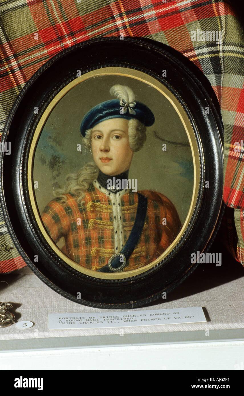 Bonnie Prince Charlie miniature portrait Inverness Museum, Scotland, UK, Culloden, Young Pretender, Stuart, Stewart, - Stock Image