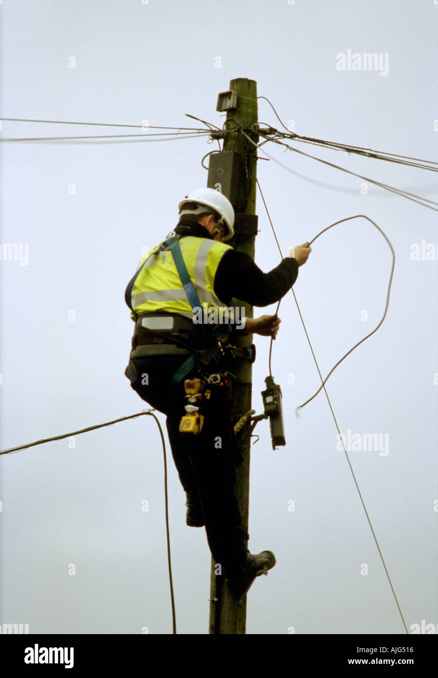 f55a8a4a586b British telecom telephone cable engineer working up a pylon to repair a  faulty line