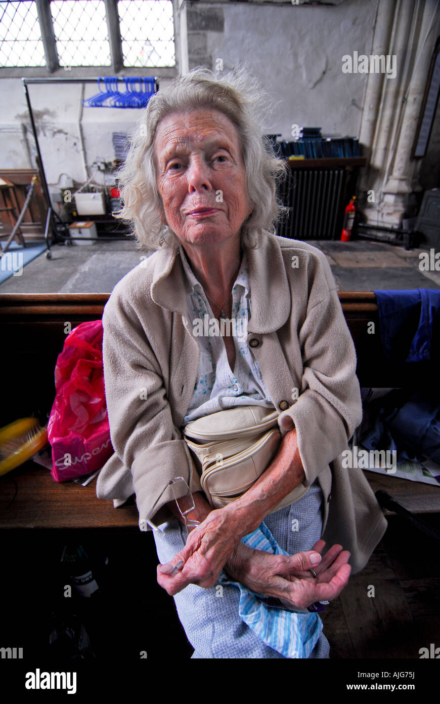 80 Years Old Homeless Woman Living In The Local Church