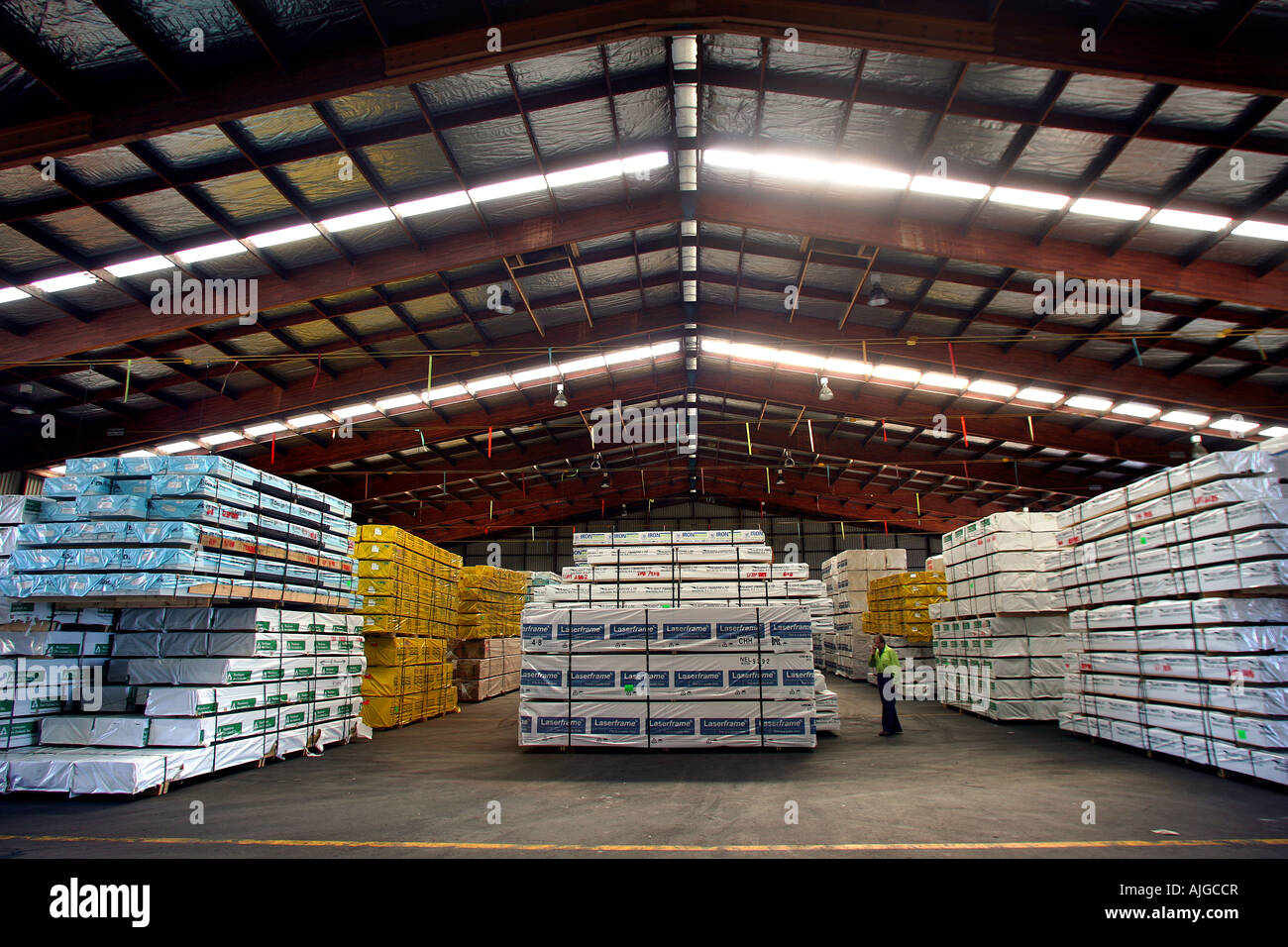 Shed 3 at Port Nelson Nelson New Zealand where fumigation of timber for export takes place using methyl bromide - Stock Image