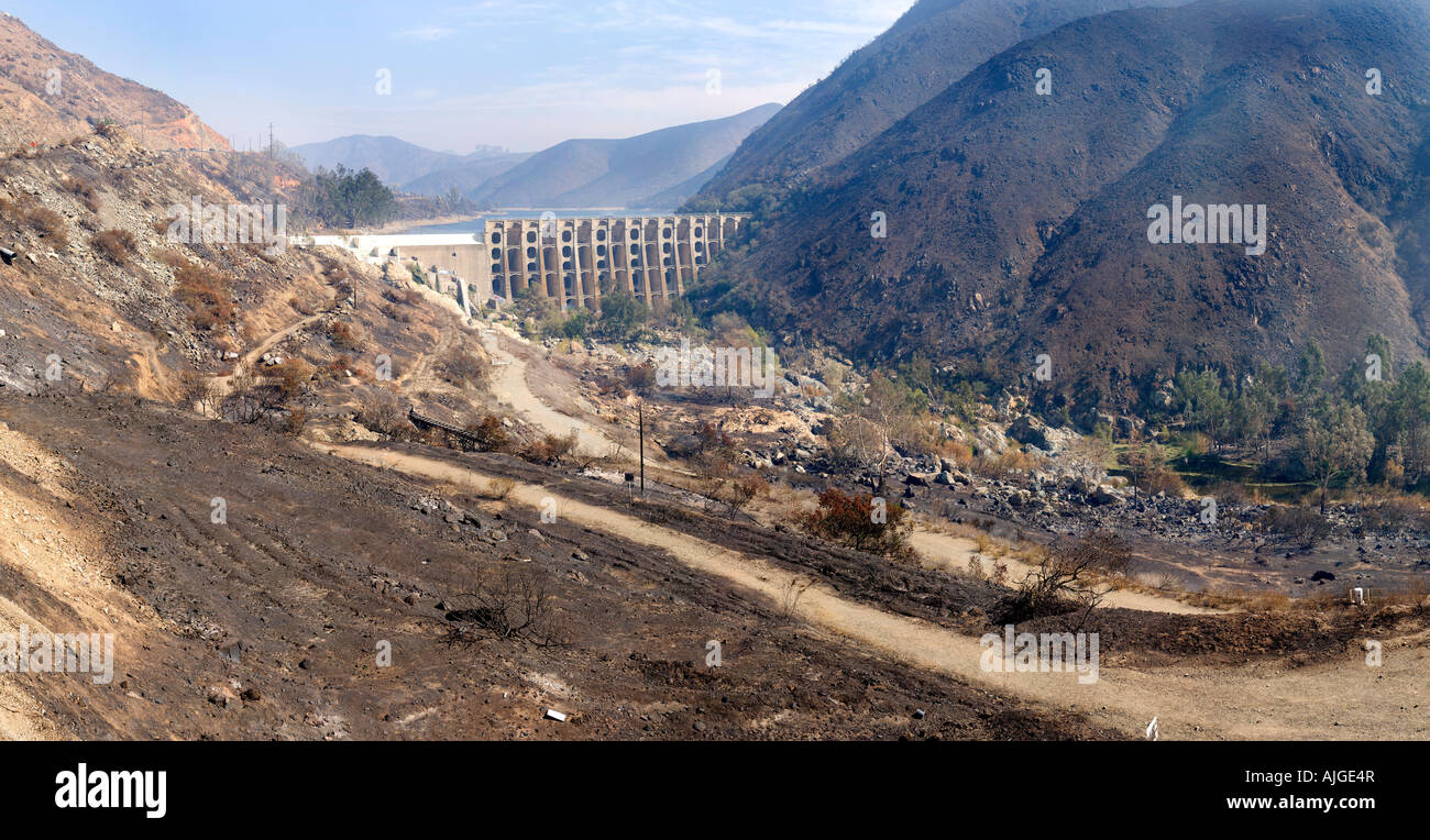 Fire damage from Lake Hodges - Stock Image