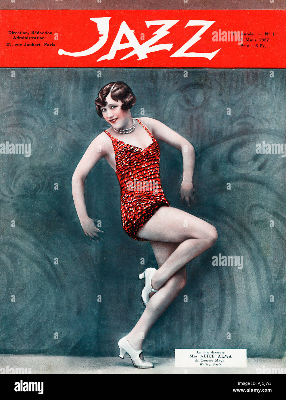 Jazz Magazine, Cover of the 1927 French journal with Alice Alma of the Concert Mayol, photo by Lucien Walery - Stock Image
