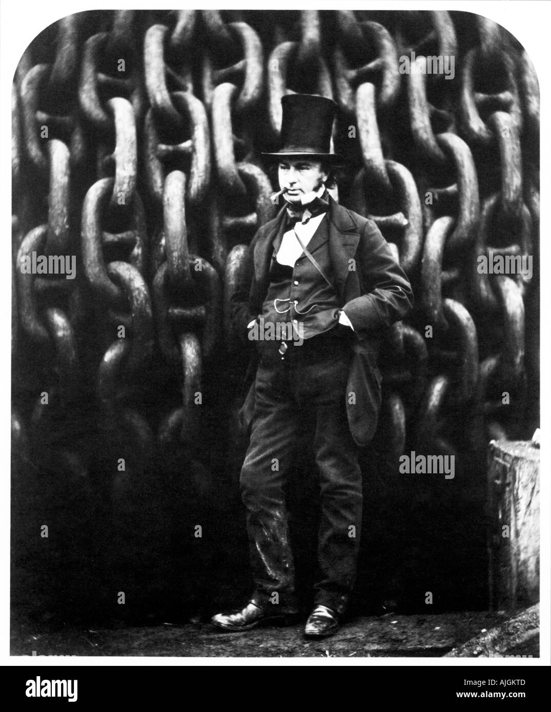 Isambard Kingdom Brunel The famous photograph against the launching chains of the Great Eastern at Millwall in 1857 - Stock Image