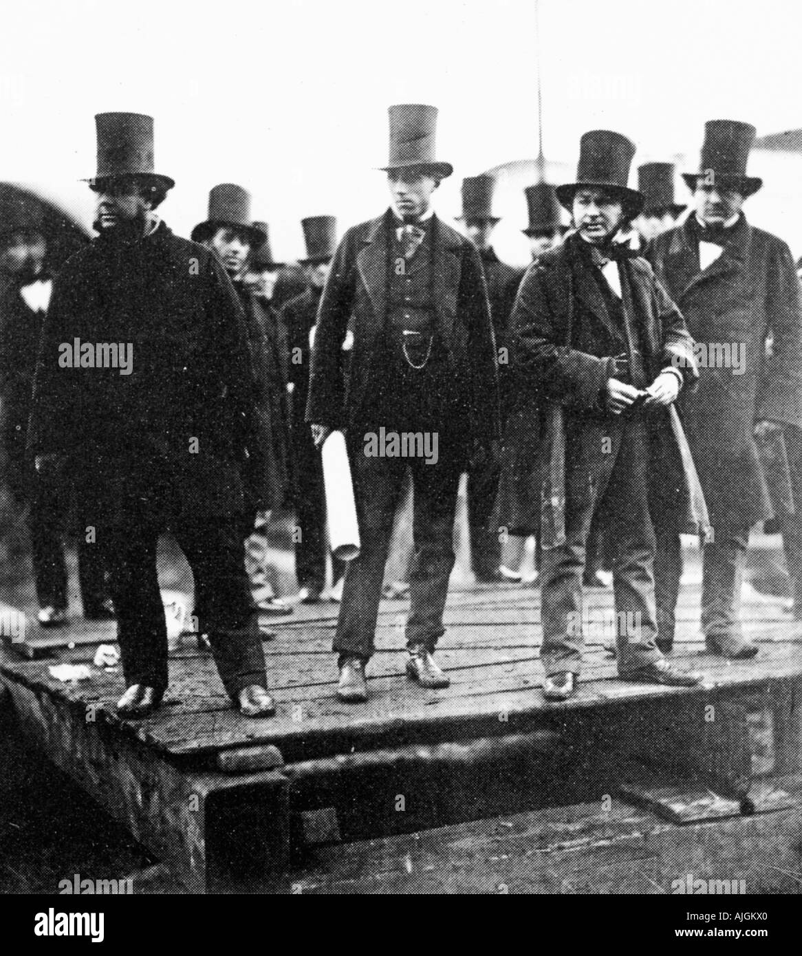 Brunel at the Launching of The Great Eastern 1857 with Scott Russell Lord Derby at Millwall docks - Stock Image