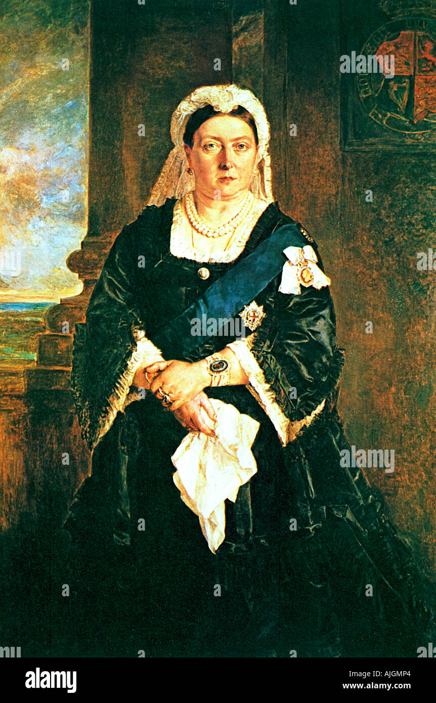 Queen Victoria, 1885 portrait of the British Queen and Empress - Stock Image