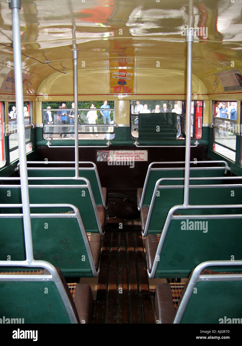 London Preserved RT Bus Interior of Lower Deck - Stock Image