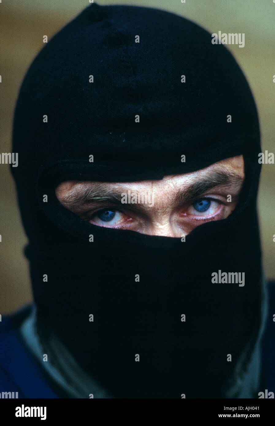 Author and ex SAS soldier in balaclava Andy McNab at an FBI training camp in Quantico Virginia USA - Stock Image