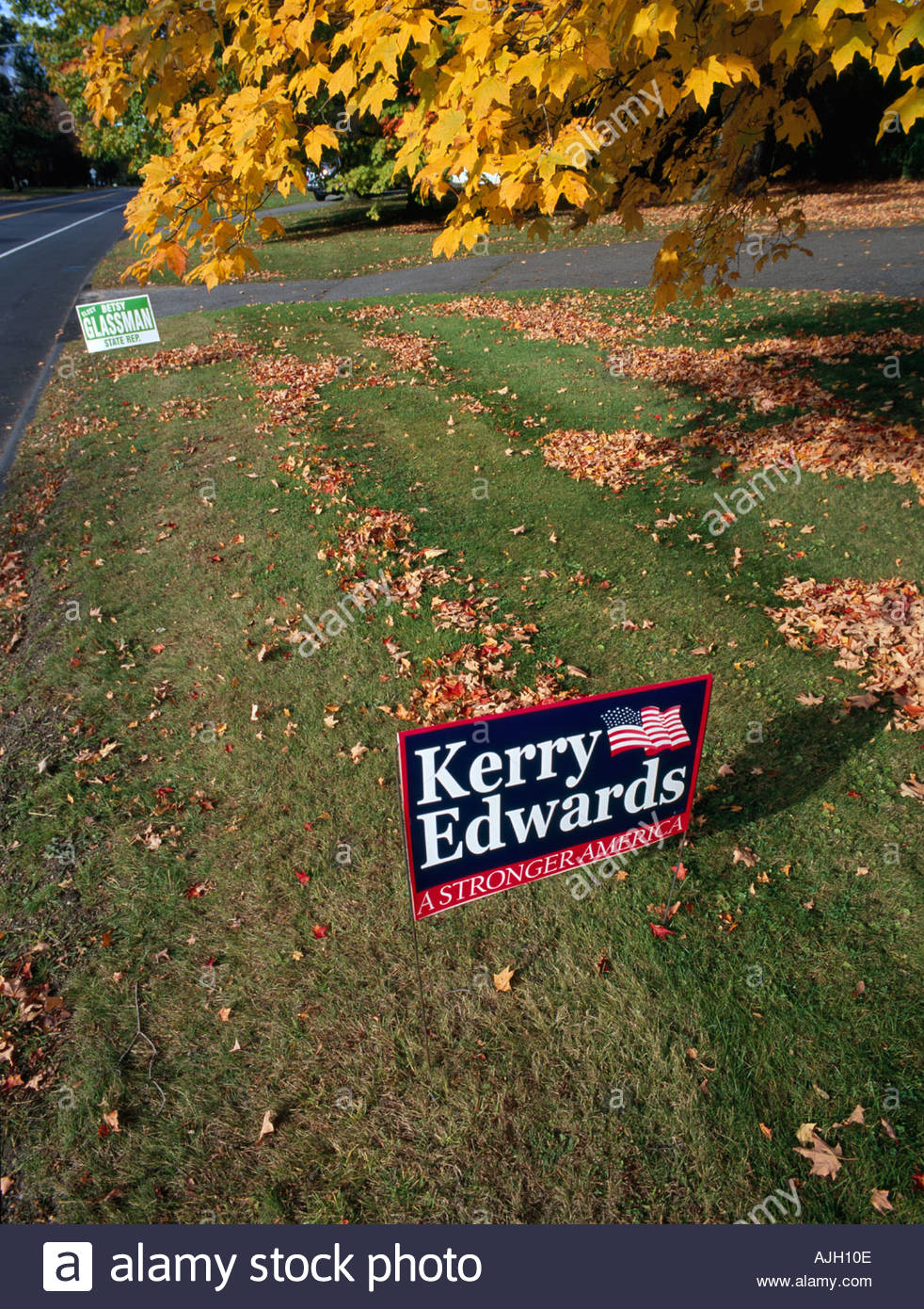 Political billboard during US presidential election Connecticut USA Oct 2004 - Stock Image