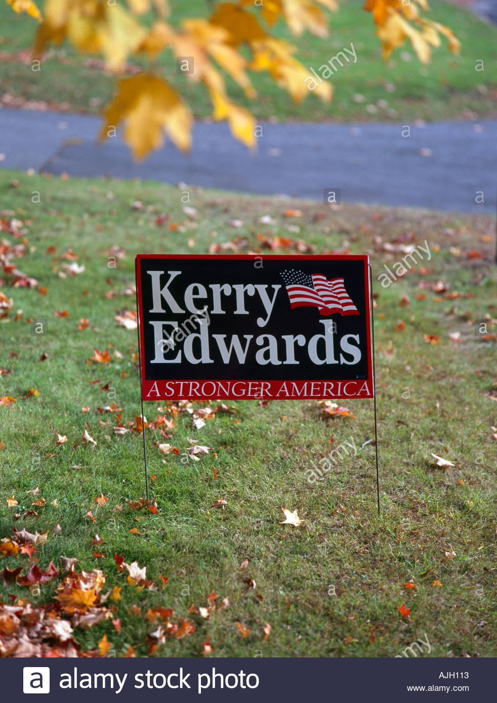 Political billboard during US presidential election Connecticut USA Oct 2004 Stock Photo