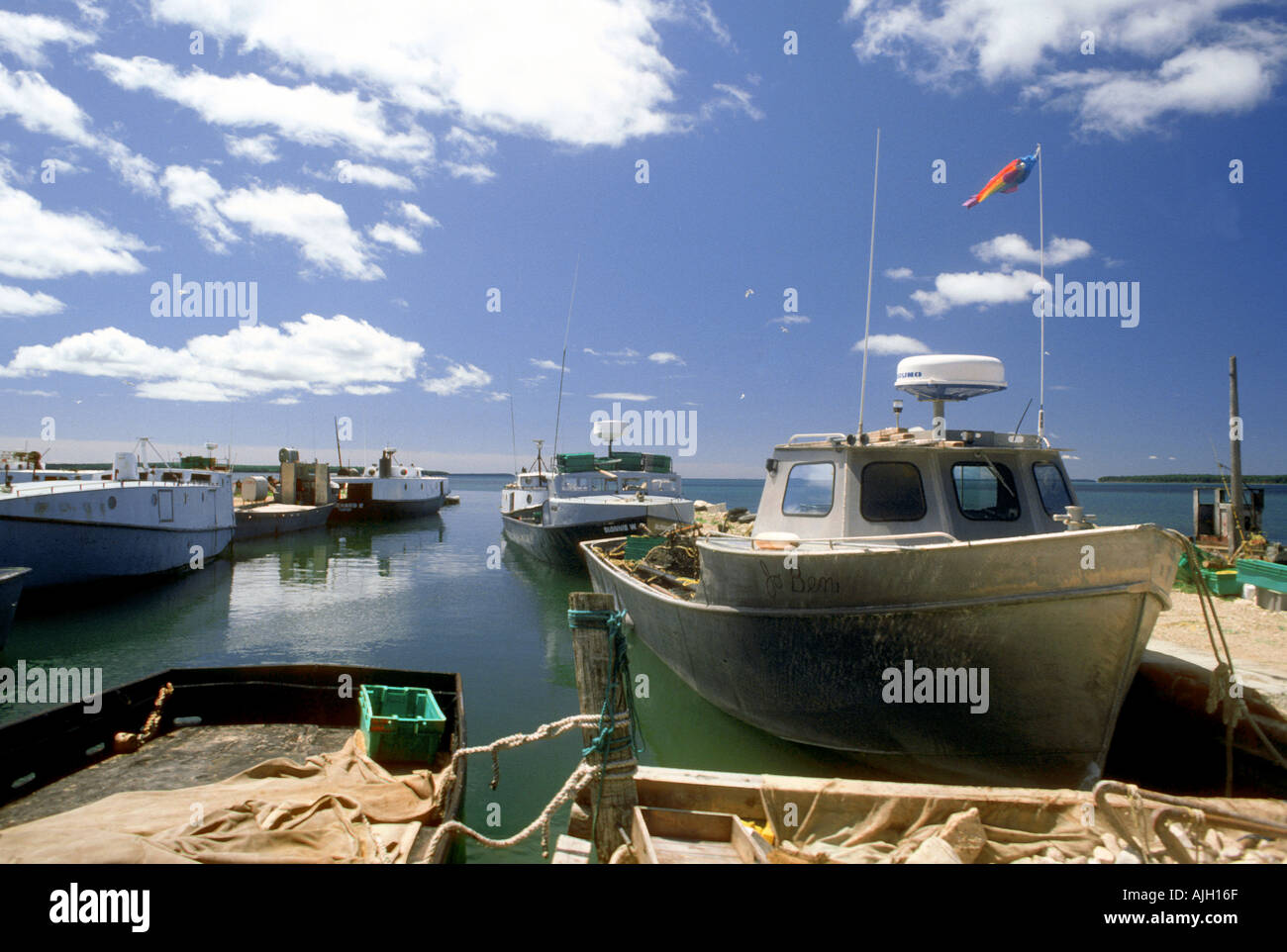 Fishing village at Fairport Michigan Upper Peninsula - Stock Image