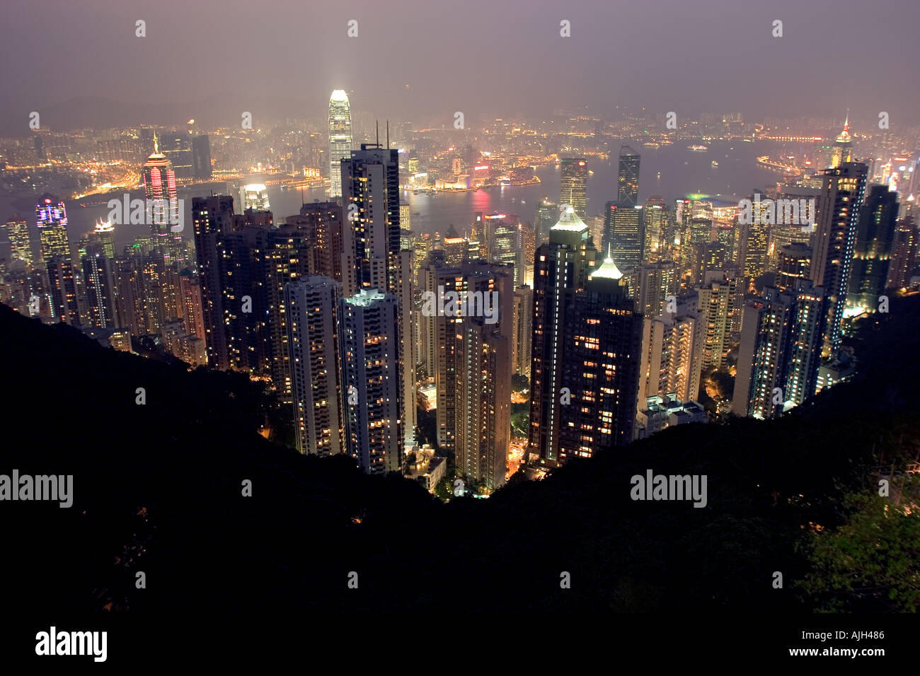 The view from the top of the peak in Hong Kong - Stock Image