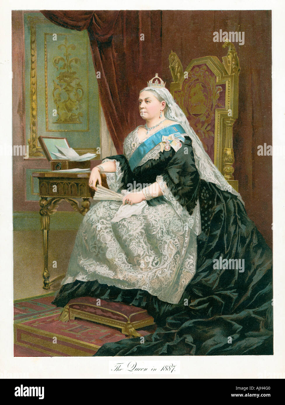 Queen Victoria in 1887, portrait from a souvenir publication to mark the Golden Jubilee of the Queen Empress - Stock Image