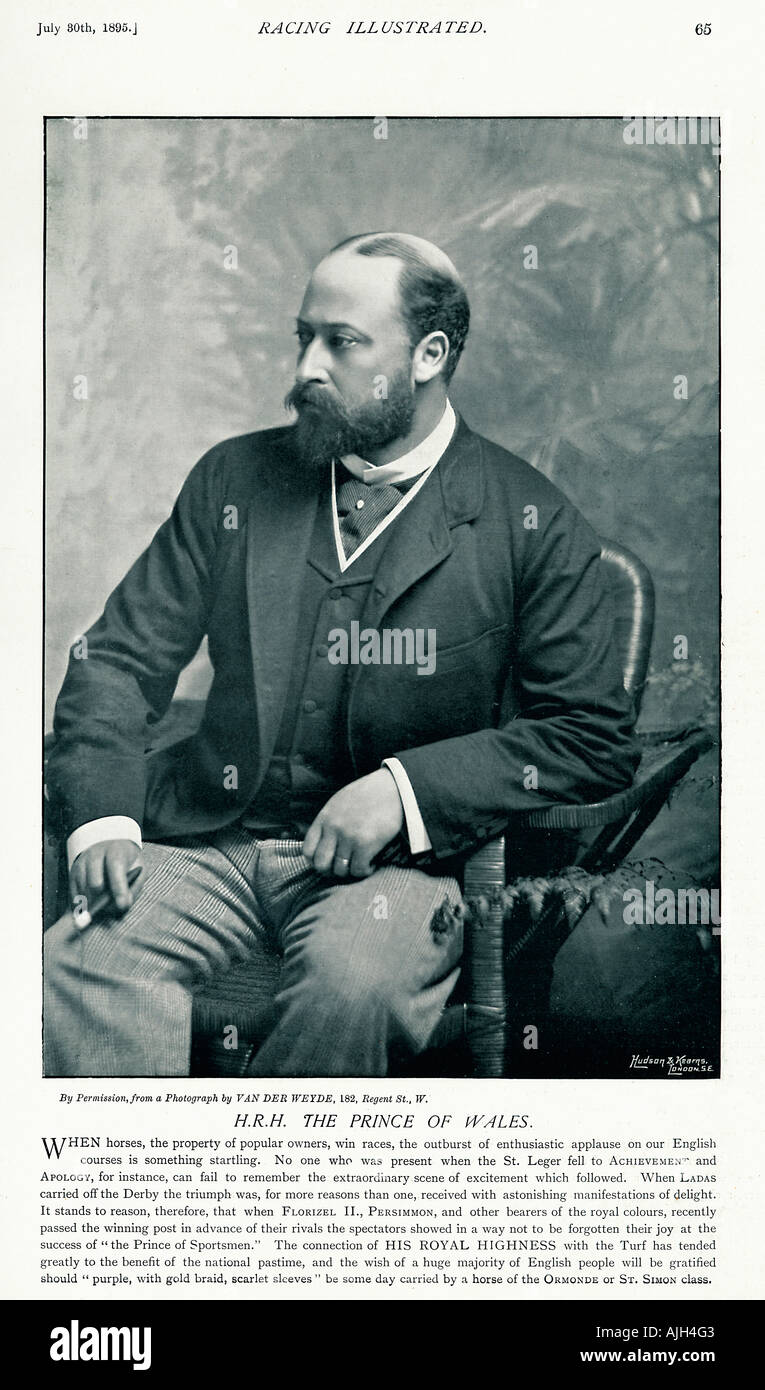 Prince of Wales 1895 photo in Racing Illustrated of the royal patron of the turf and future Edward VII - Stock Image