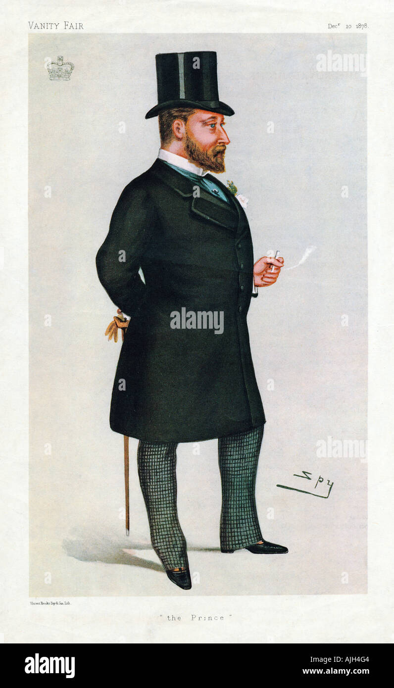 Prince of Wales, 1878, The future Edward VII in a Vanity Fair cartoon by Spy - Stock Image