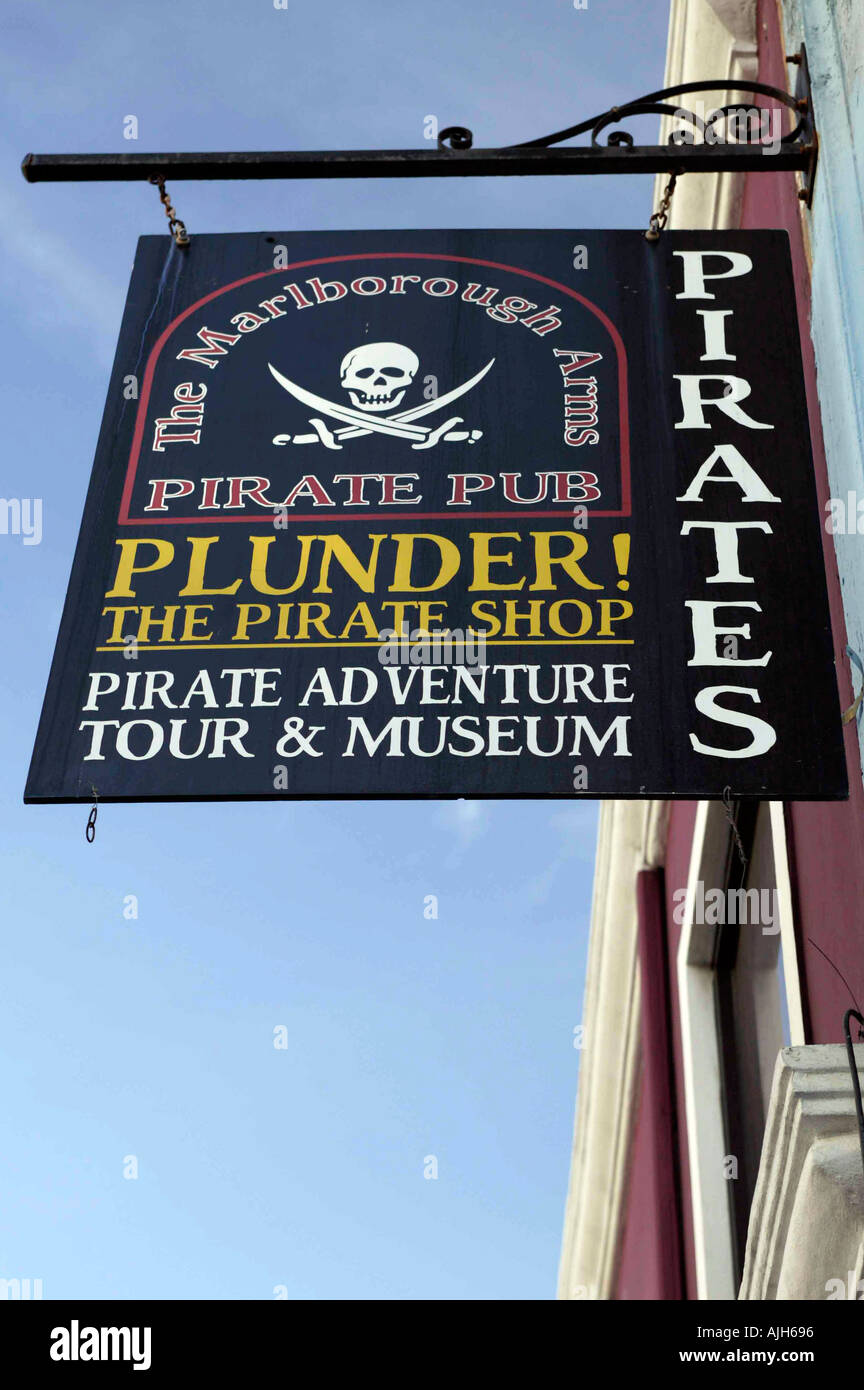 Sign for the Pirates Pub at Nassau Museum in downtown Nassau Bahamas Caribbean - Stock Image
