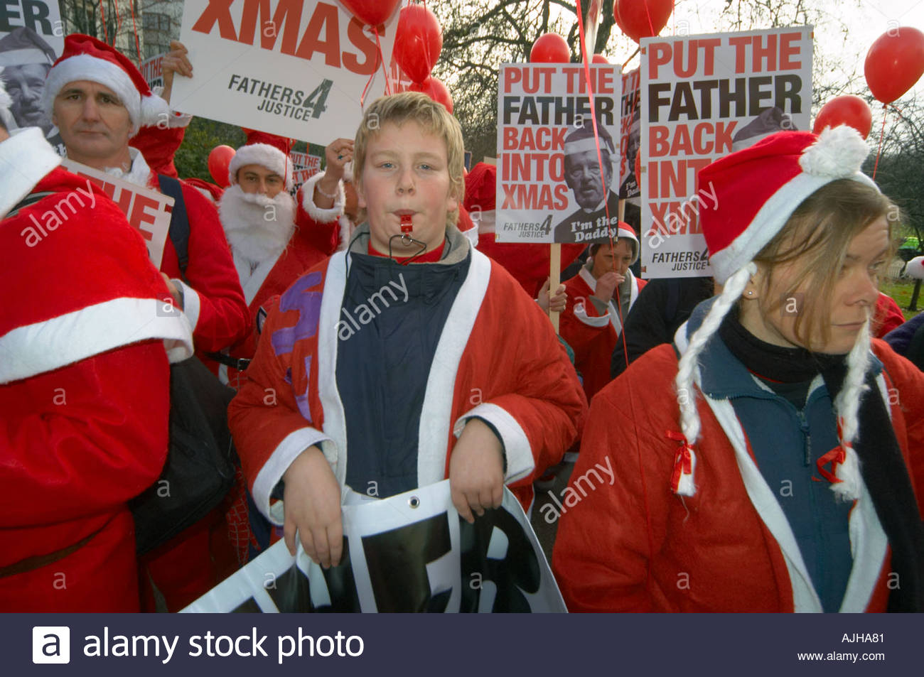 Fathers 4 Justice demo Central London 18 December 2004 UK - Stock Image