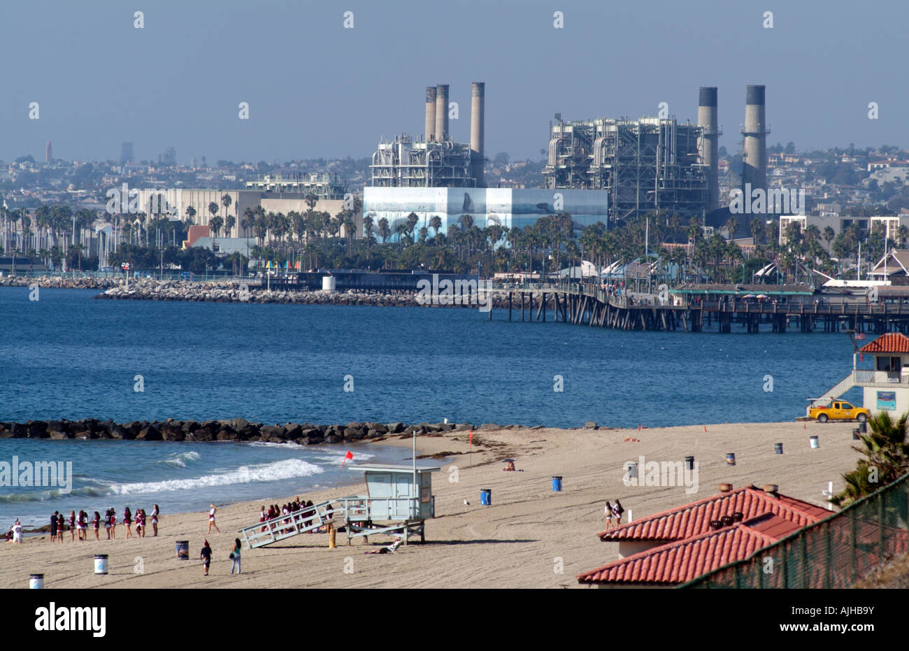 The AES Power Plant on Redondo Beach Waterfront California Los Angeles County USA - Stock Image