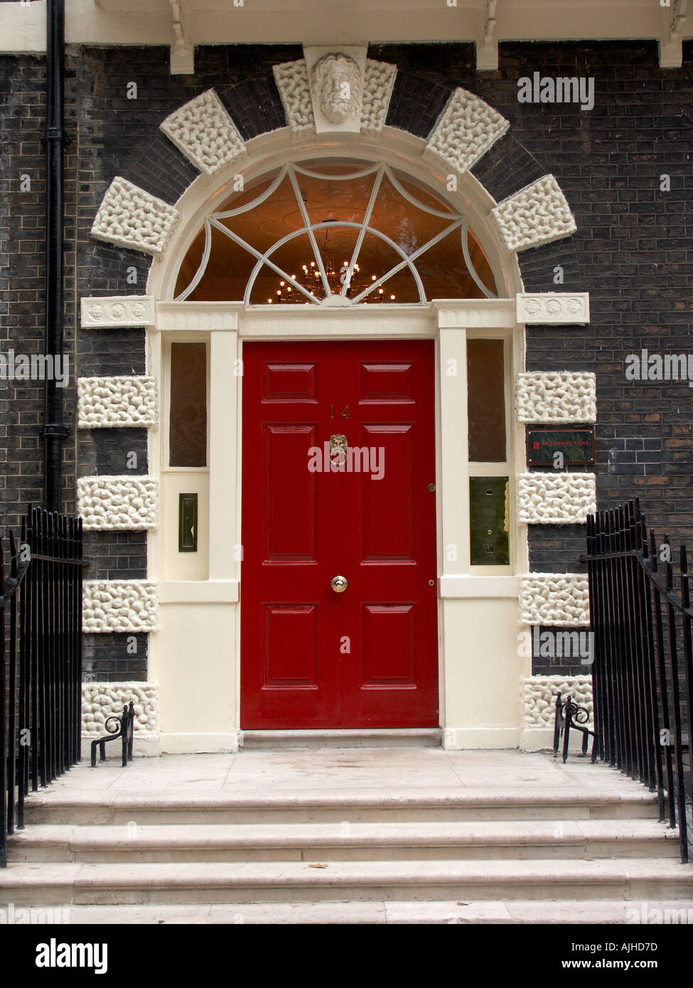 Red Entry Door Of Row House In Bedford Square Borough Of Holborn London  England UK