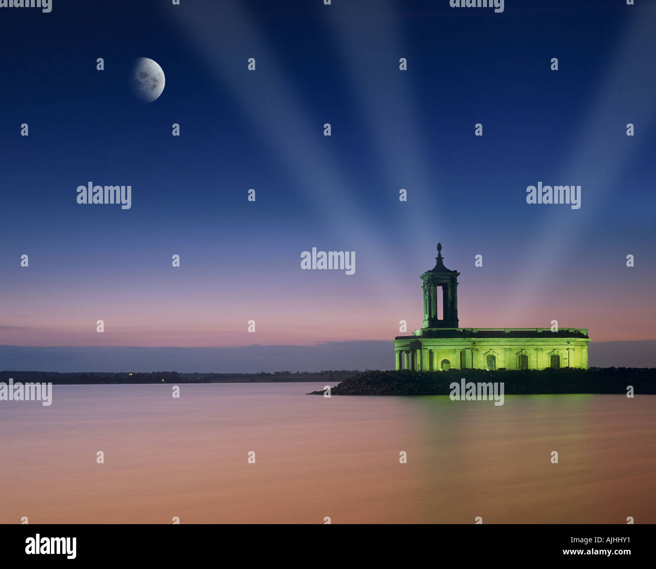 GB - LEICESTERSHIRE:  Moon over Normanton Church at Rutland Water - Stock Image