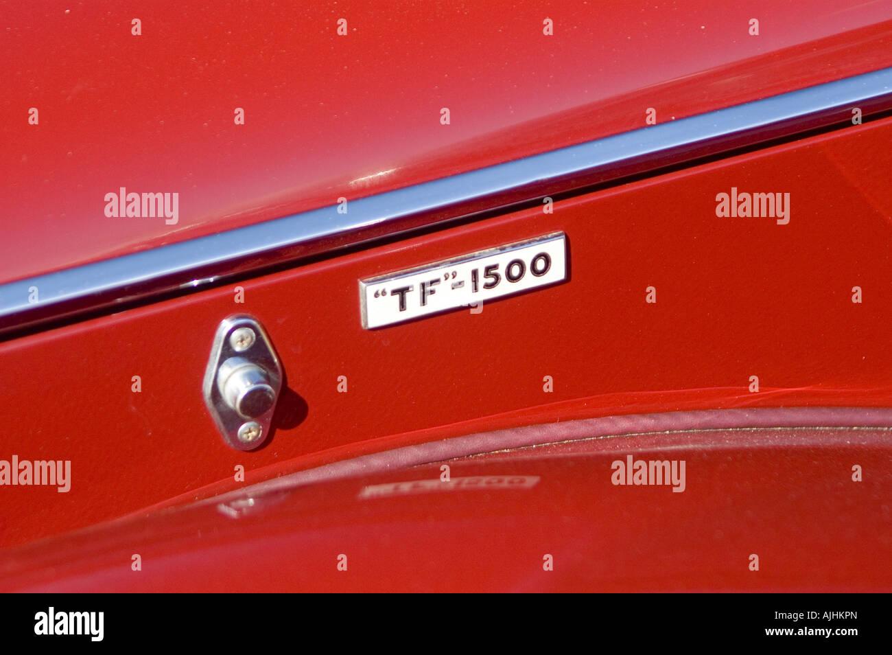 MG TF 1500 vintage sports car detail badge - Stock Image