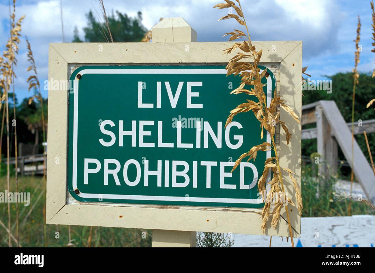 Florida FL Sanibel Captiva Islands Live Shelling Prohibited Sign conservation ecology Stock Photo