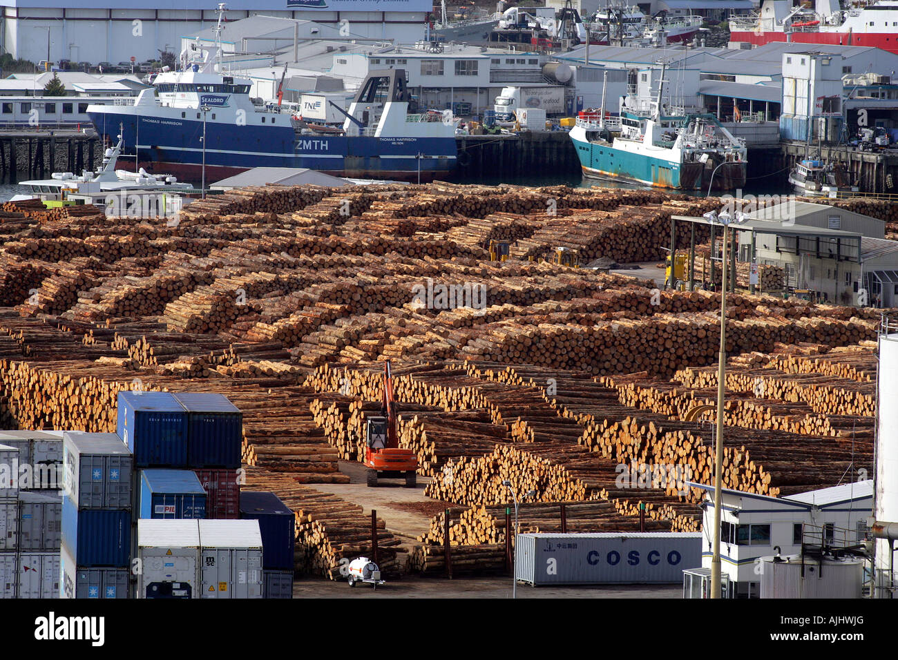 Port Nelson Nelson New Zealand where fumigation of timber for export takes place using methyl bromide Stock Photo