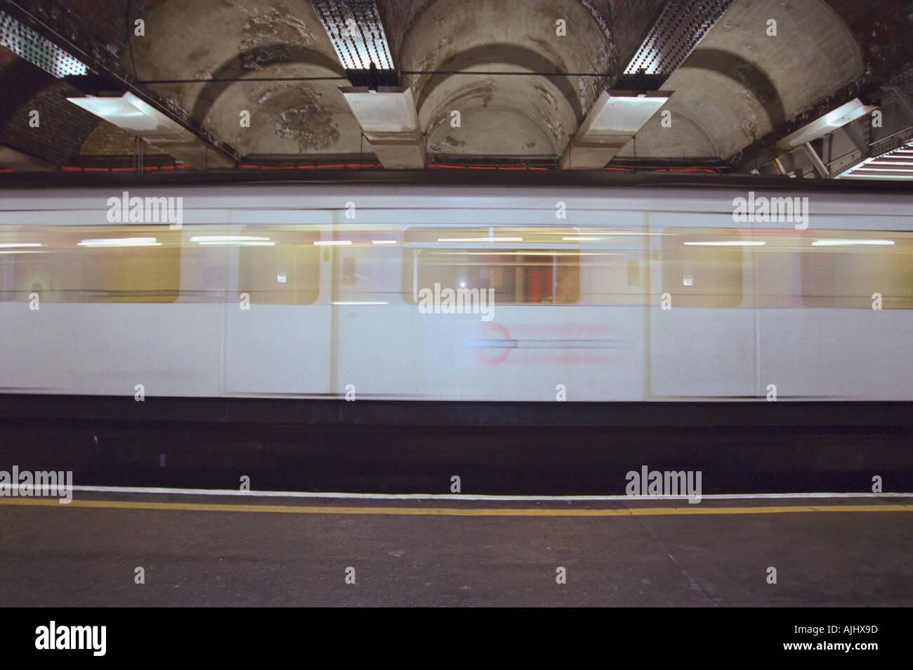 Blurred subway train - Stock Image