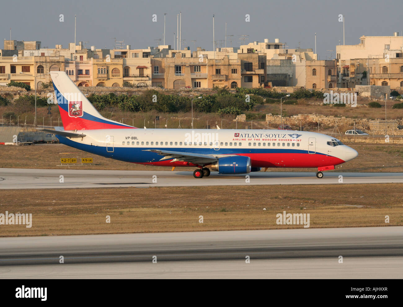 Atlant-Soyuz Airlines Boeing 737-300 taxiing for departure from Malta - Stock Image