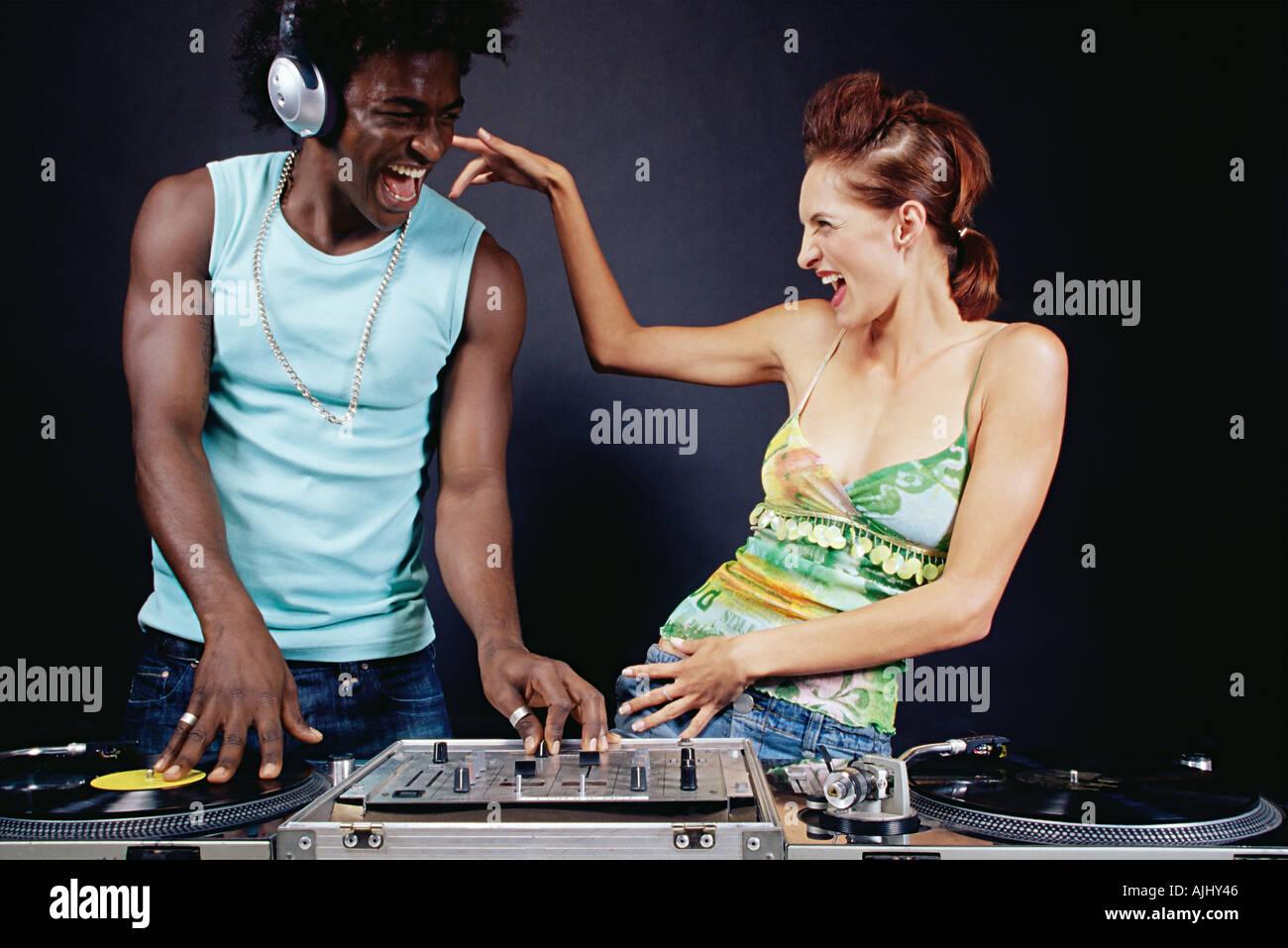 Friends DJing - Stock Image