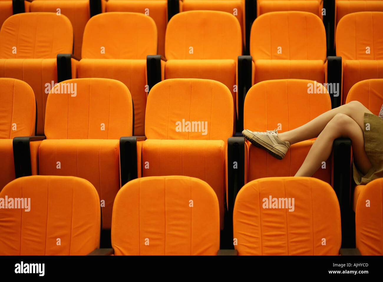 Woman's legs in a lecture theatre - Stock Image