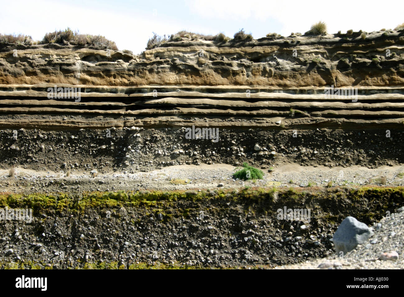 layers of volcanic deposits and ash from previous eruptions of Mt Ruapehu and Ngauruhoe New Zealand Stock Photo