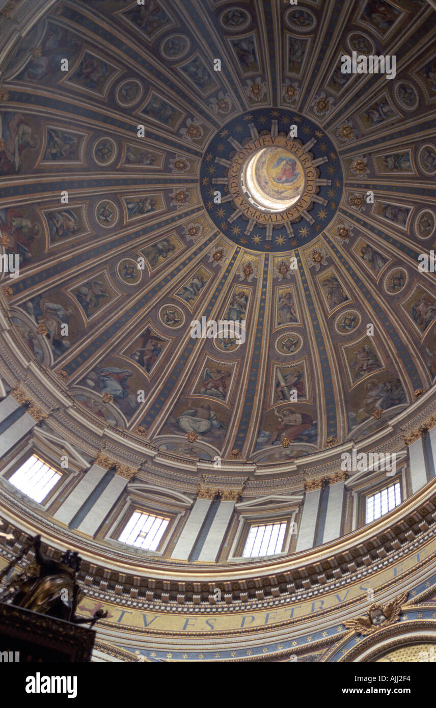 Looking up at the Michelangelo designed Dome of Saint Peter s Basilica in the Vatican City Rome - Stock Image