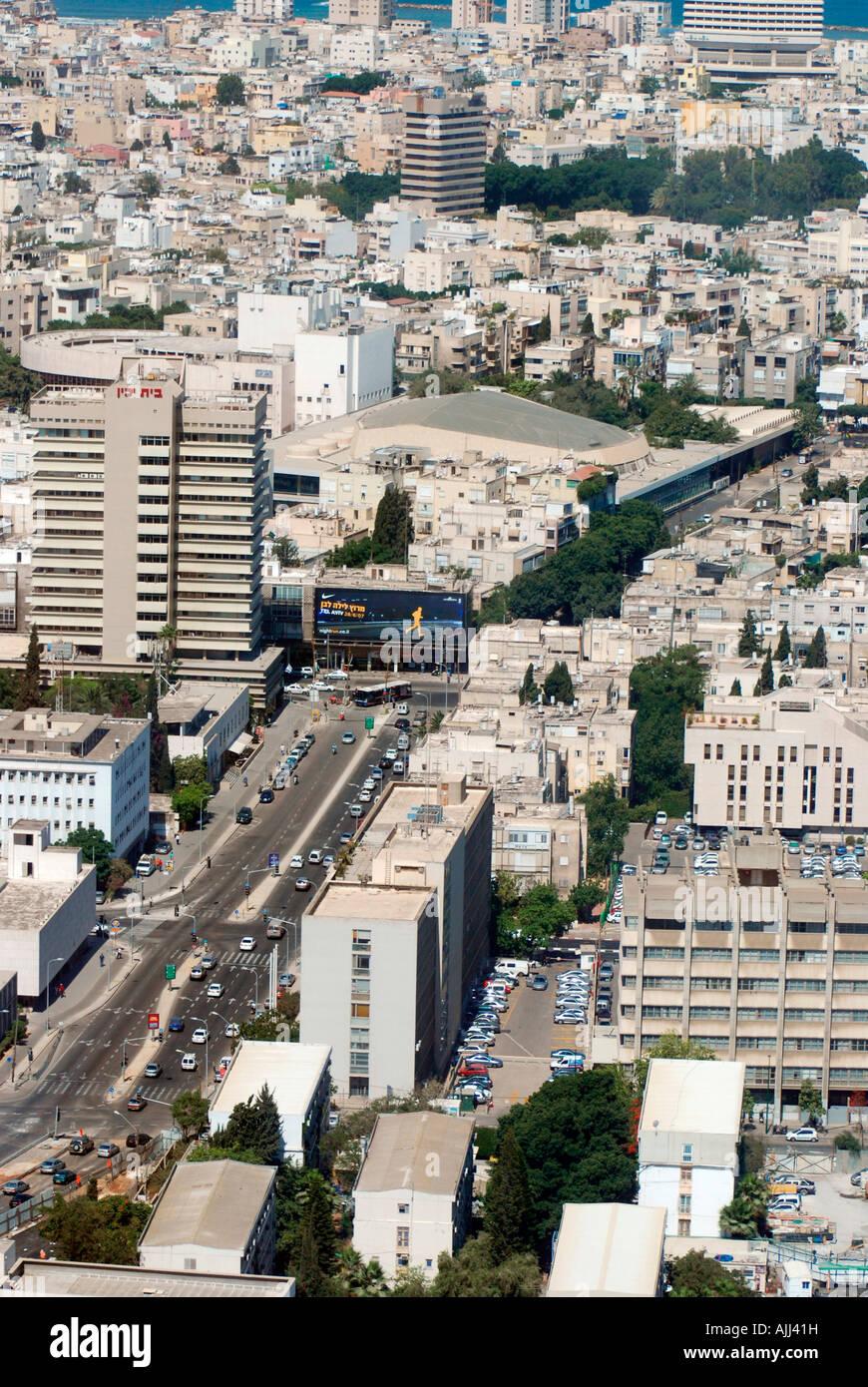 Israel Tel Aviv Kaplan street aerial photography looking west - Stock Image