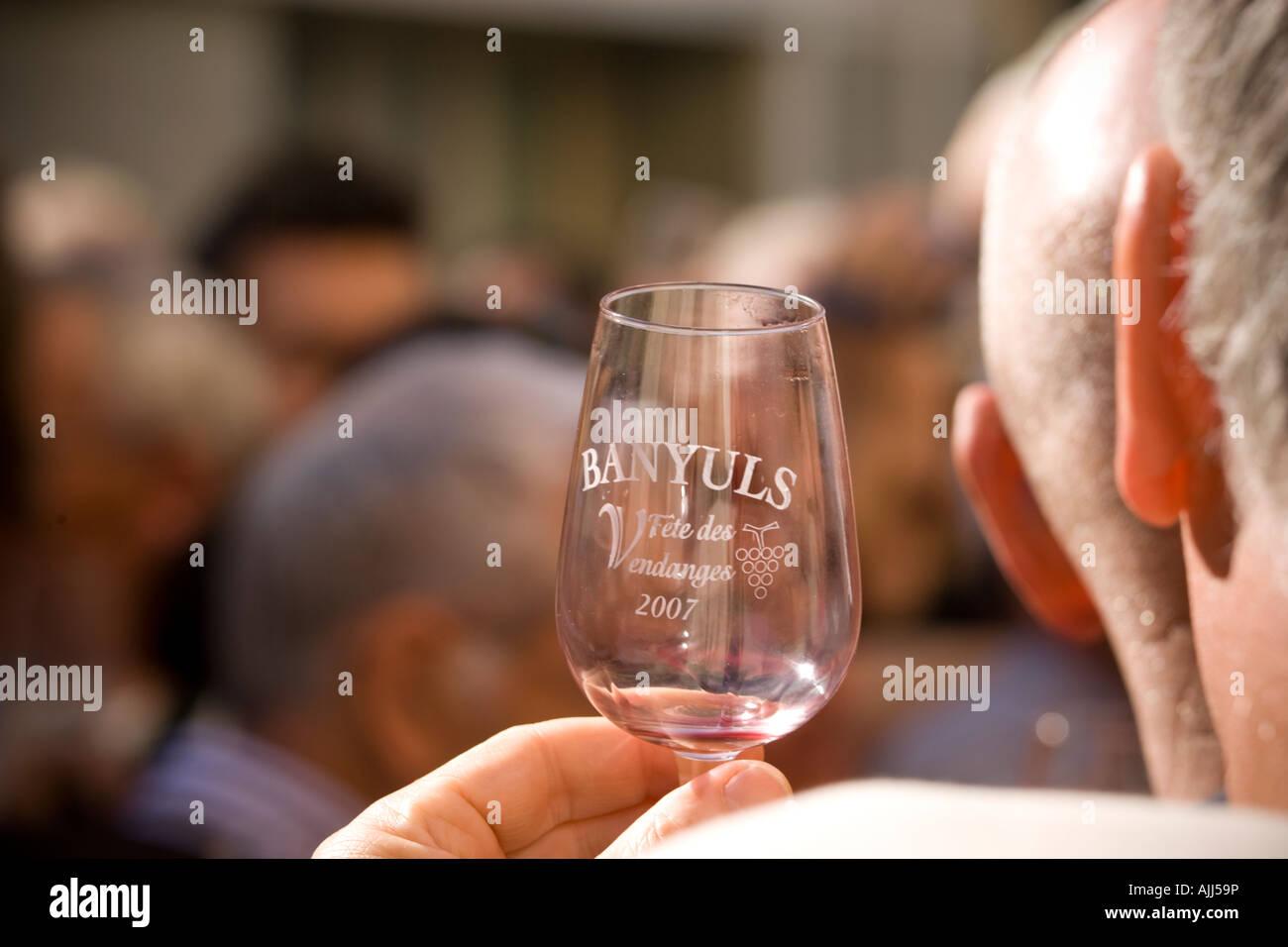 Wine tasting at Fete des Vendanges Banyuls sur Mer France Stock Photo