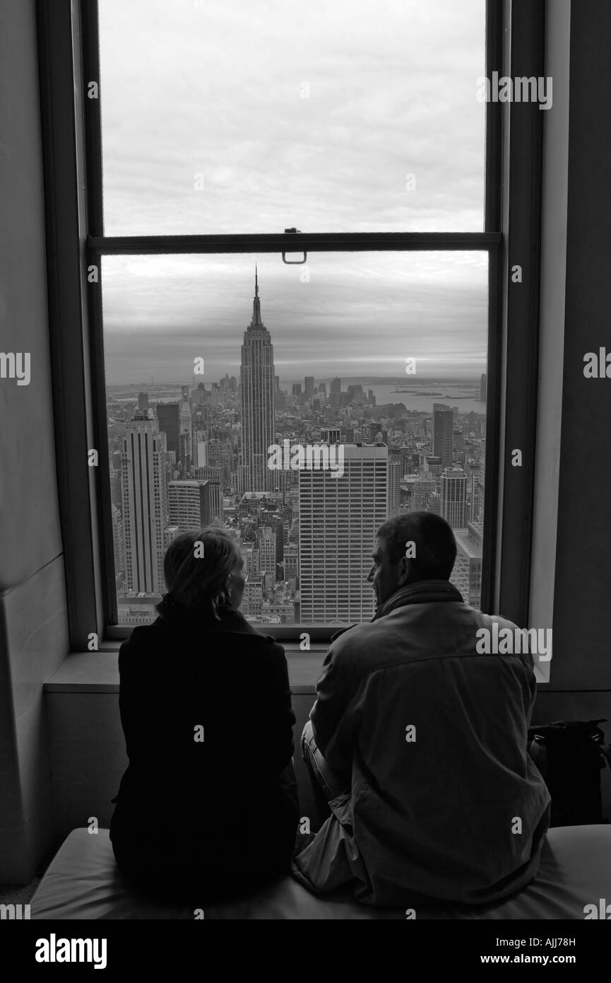 Usa Ny New York City Manhattan A Couple In Their Hotel Room Sitting
