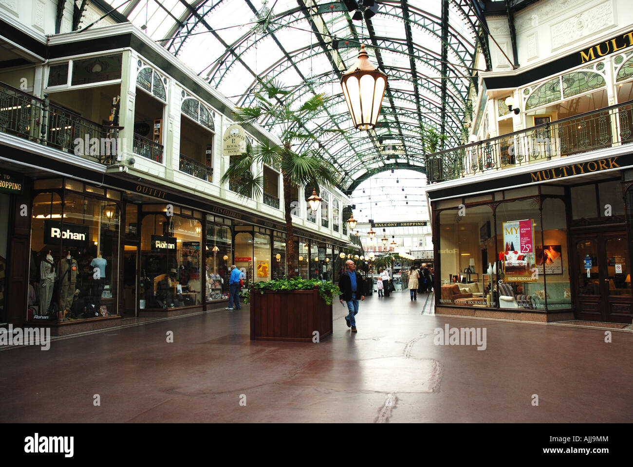 A view of Wayfarers Arcade in Southport, Merseyside. This is a very popular shopping venue in this gentile resort. Stock Photo