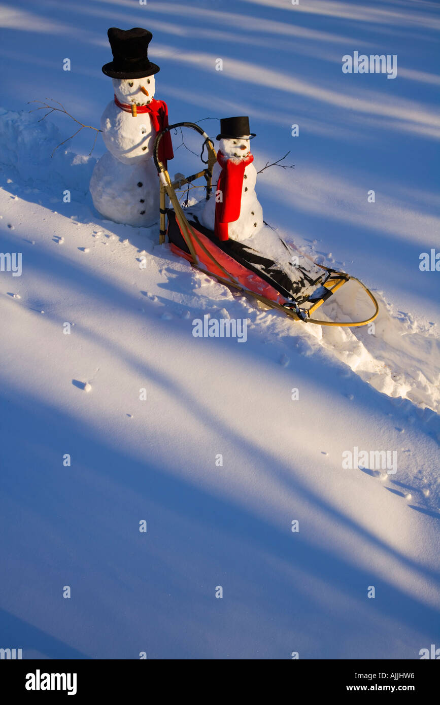 Large small snowman ride on dog sled in deep snow in afternoon Interior Fairbanks Alaska winter - Stock Image