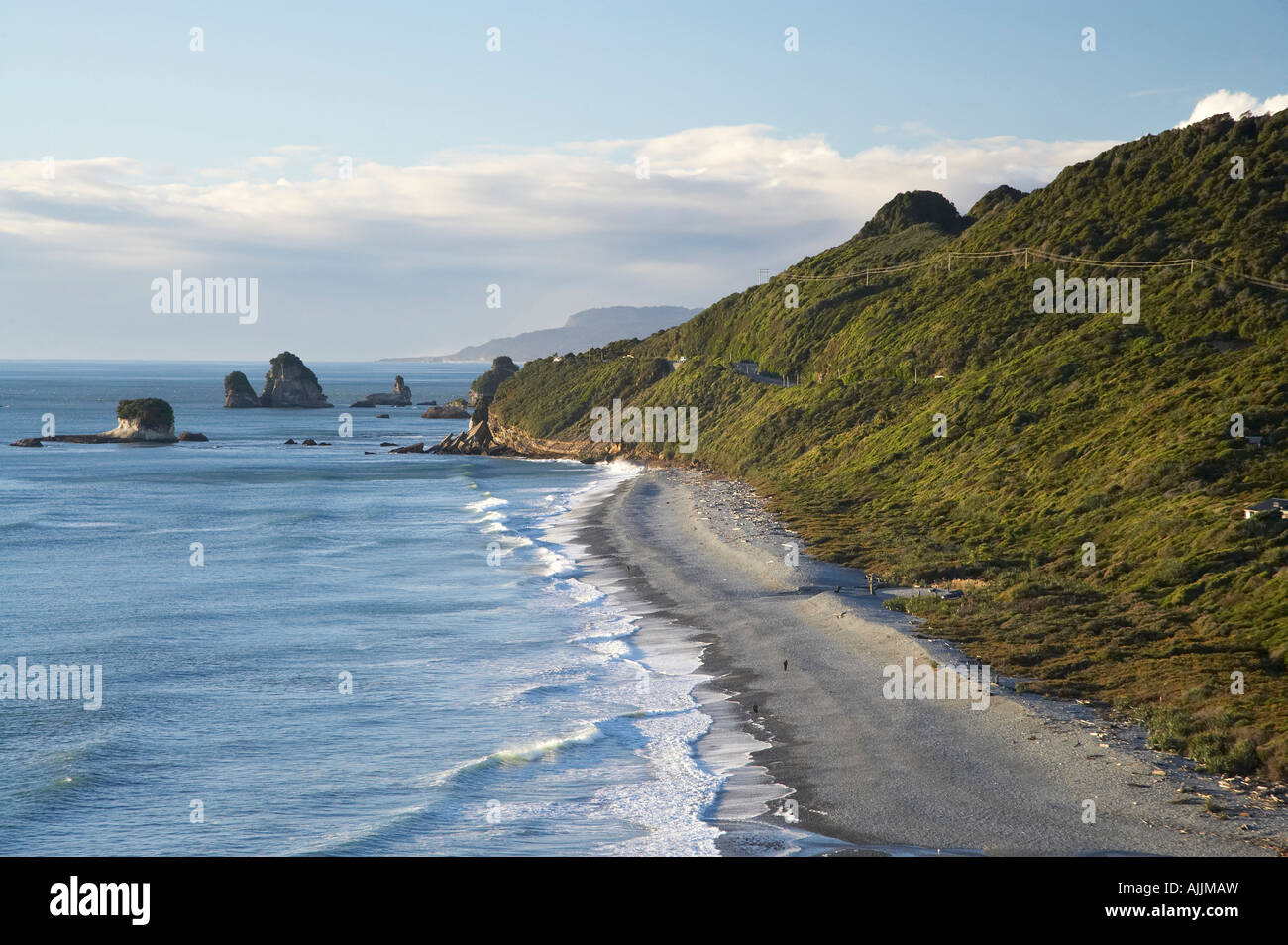 Beach by Ten Mile Creek north of Greymouth West Coast South Island New Zealand - Stock Image