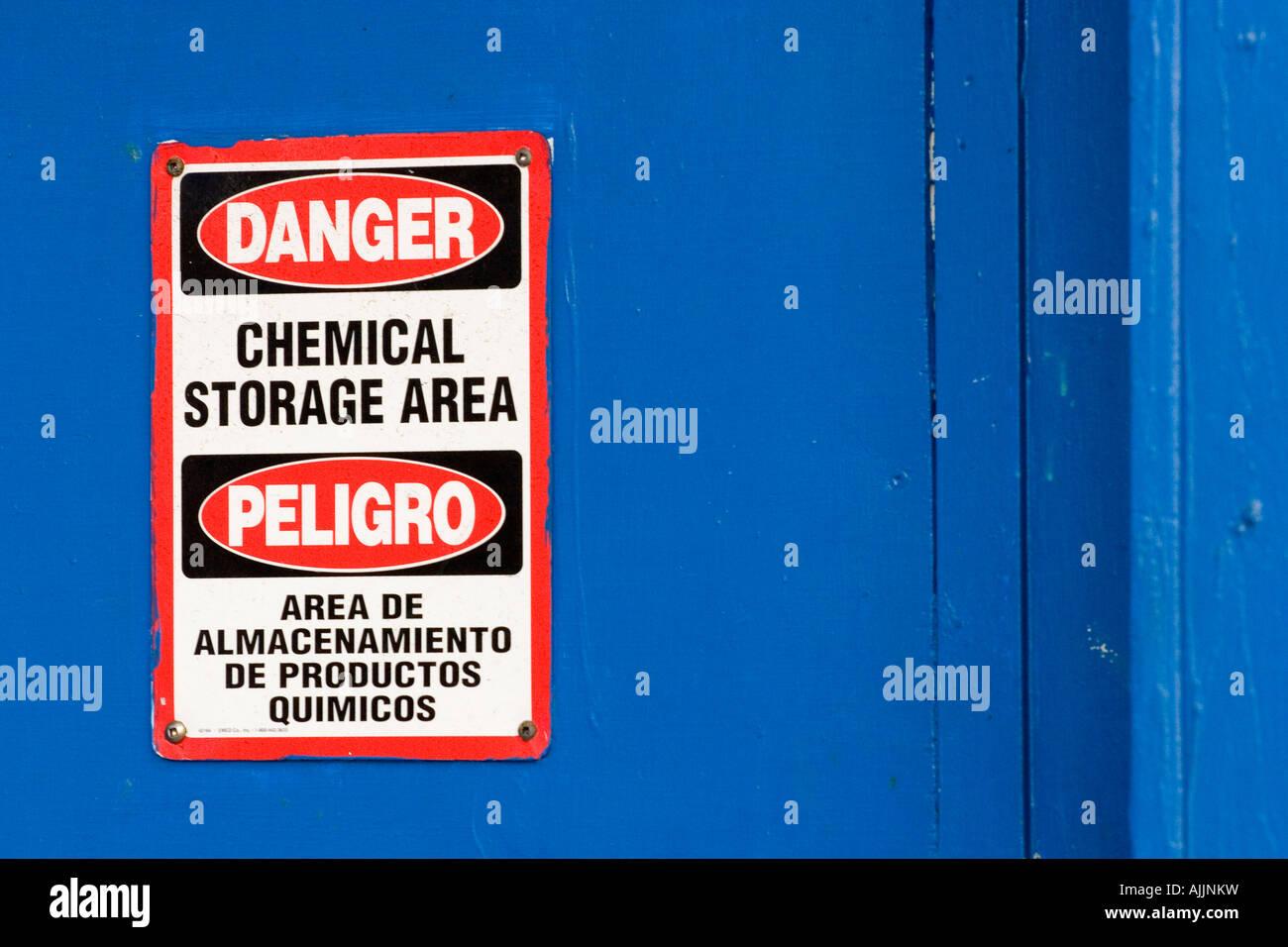 Sign warning danger chemical storage area - Stock Image