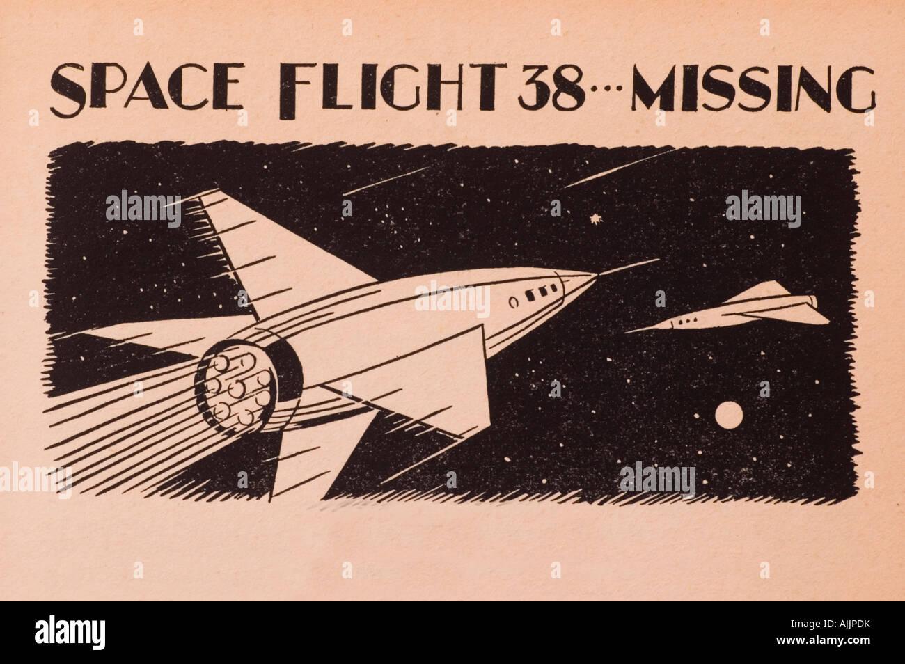 Space flight 38 is missing 1950 cartoon book - Stock Image