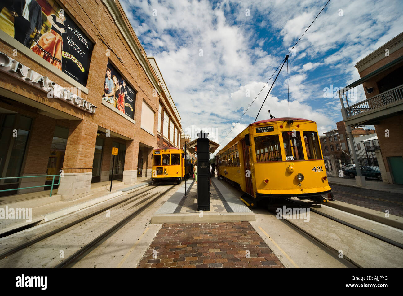Tampa Florida US historic Spanish Cuban district Ybor City TECO Line electric trolley streetcar at Centro Ybor stop - Stock Image