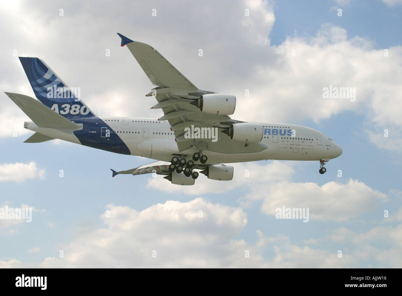Airbus A380 super jumbo aircraft in flight at Paris Airshow 2005 - Stock Image