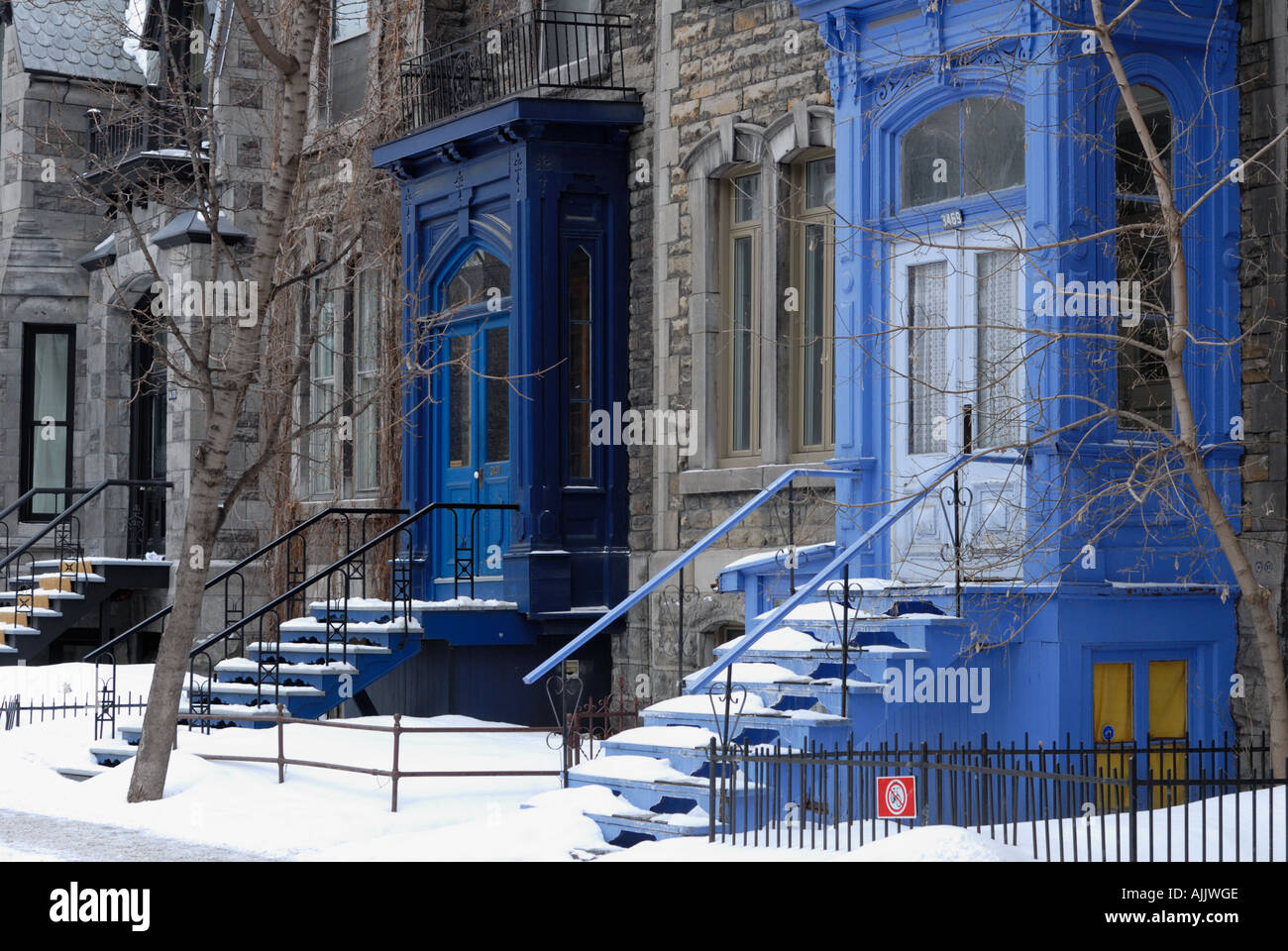 Blue Doors in Winter McGill Ghetto Montreal Quebec Canada & Blue Doors in Winter McGill Ghetto Montreal Quebec Canada Stock ...
