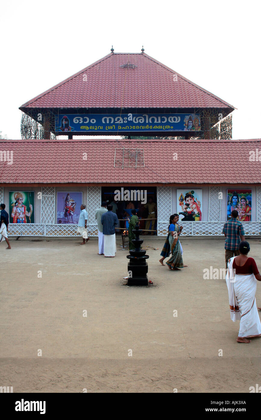 Devotees visiting the temple of Lord Shiva in Aluva, Kerala - Stock Image