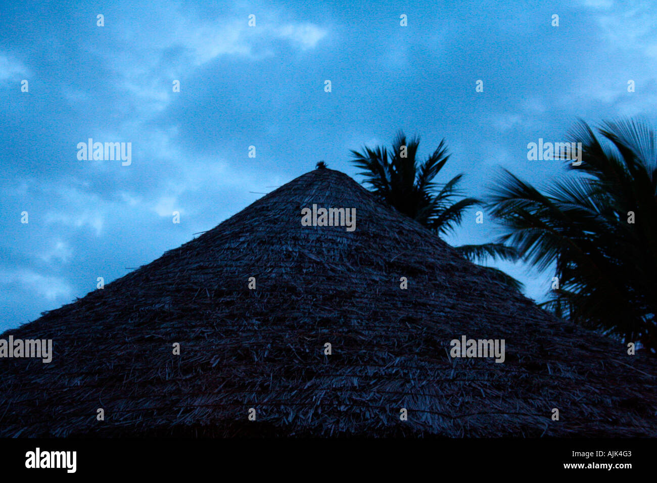 A view of the roof of a beach umbrella during day time - Stock Image