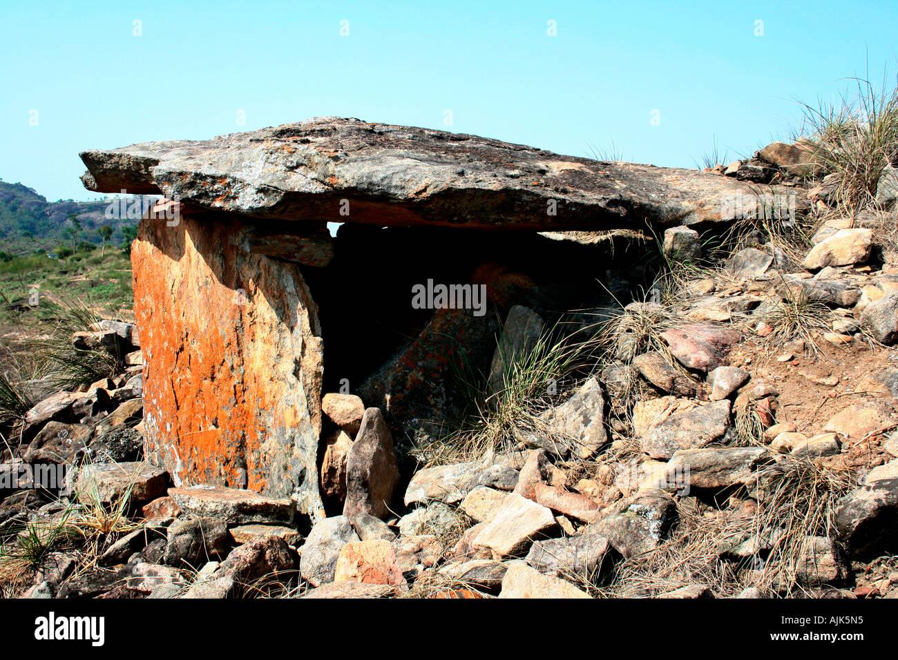 An ancient cave or muniyara at Marayoor, Kerala - Stock Image