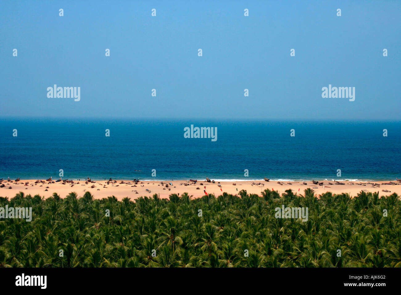 The distant view of a beach at Vizhinjam, Kerala - Stock Image