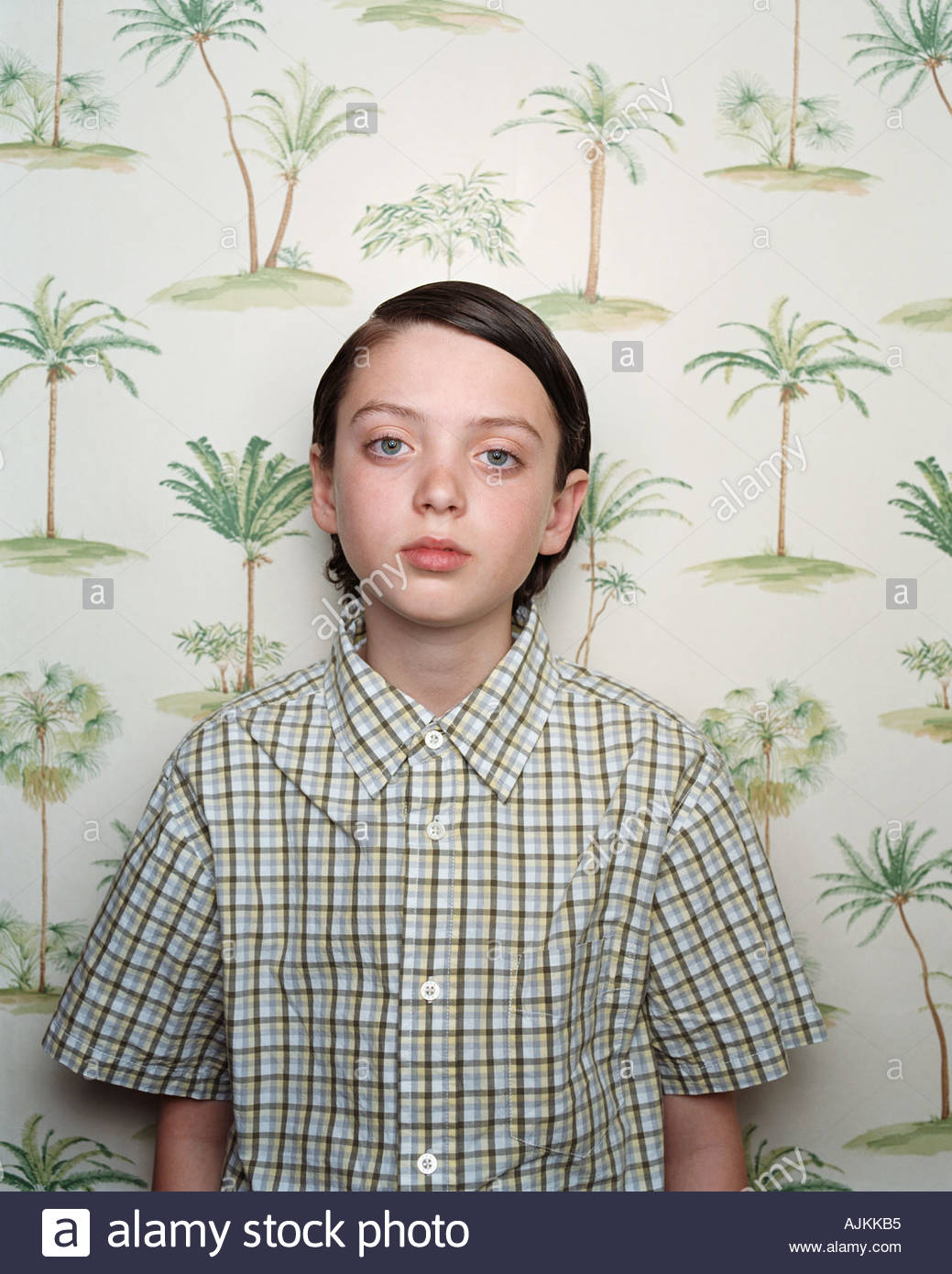 Boy in a checked shirt - Stock Image