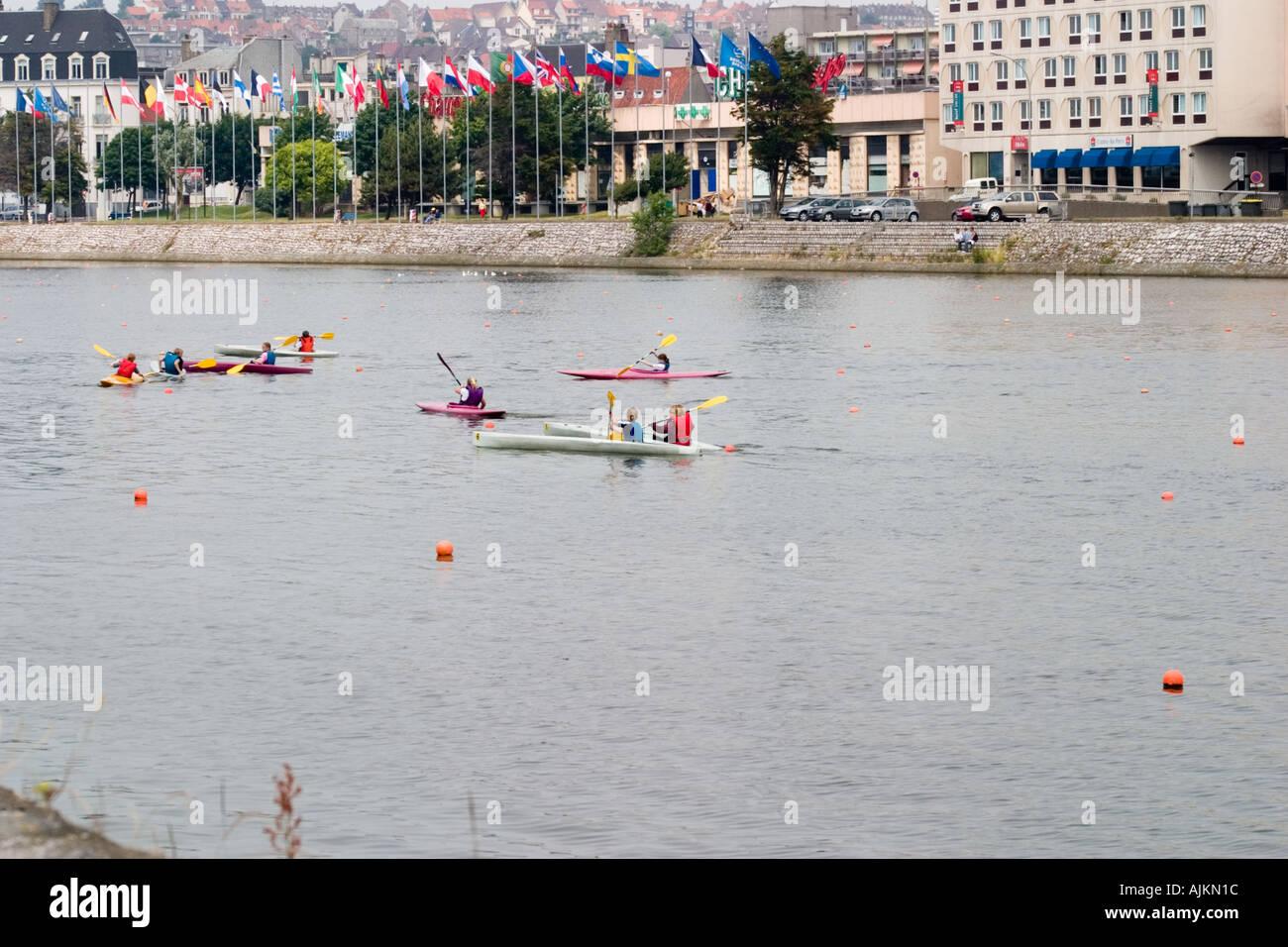 Schoolchildren take a canoeing lesson on the River in Boulogne Pas de Calais - Stock Image